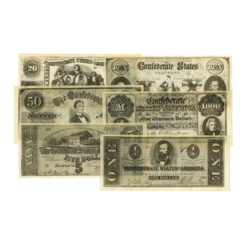 1 set of 6 diff. Confederate antiqued reproduction Set C currency uniface