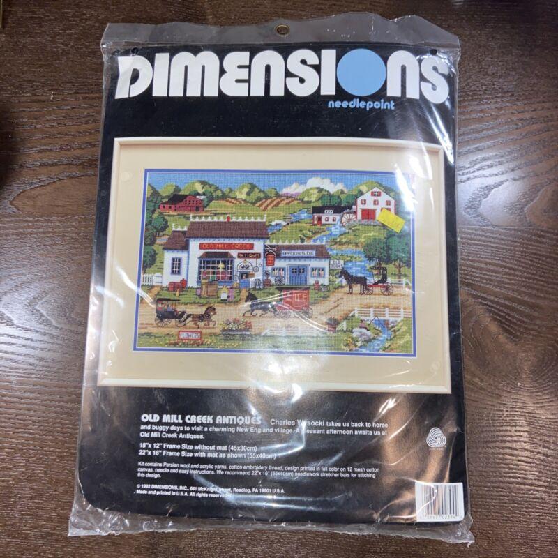 Charles Wysocki Old Mill Creek Antiques Needlepoint Kit # 2394 Dimensions 1992