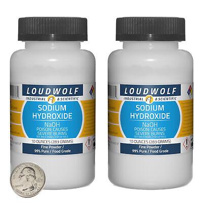 Sodium Hydroxide 1.3 Pounds 2 Bottles 99 Pure Food Grade Fine Powder
