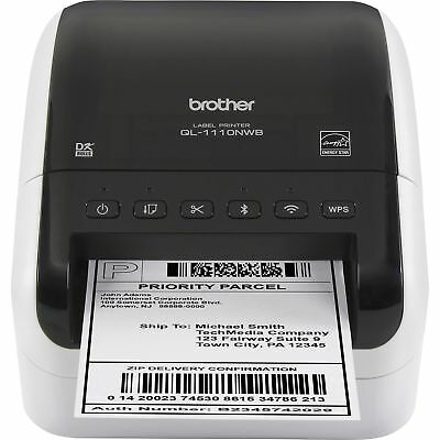 Brother Label Printer Wireless Wide-format Thermal 300 Dpi Webk Ql1110nwb