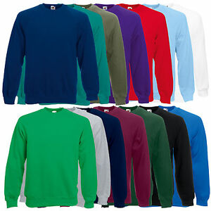 Fruit-of-The-Loom-Raglan-Sweatshirt-Plain-Sweater-Jumper-Top-Pullover-SS270
