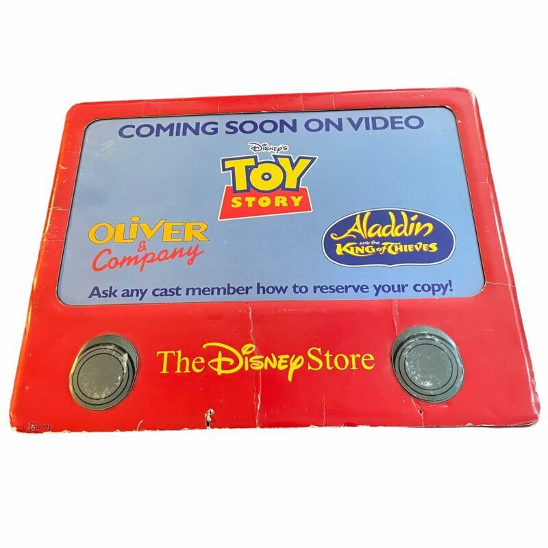 Vtg Disney Store Toy Story Oliver Aladdin VHS Standee Display Etch A Sketch 90s