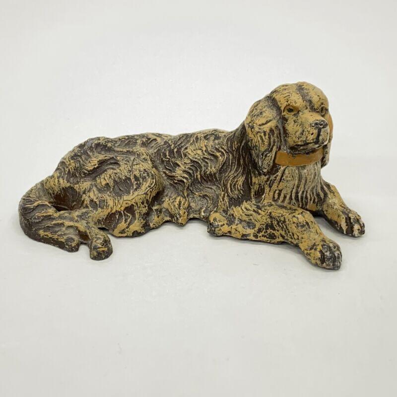 Vintage Pot Metal Setter or Golden Retriever Large Breed Hunting Dog Figurine