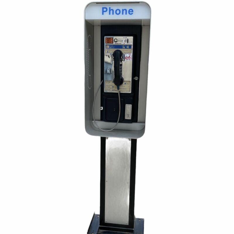 Vintage Single Slot Public Payphone w Lighted Shroud & Pedestal