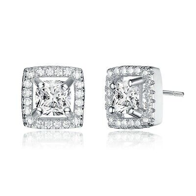 Rozatto Rhodium Plated Clear Cushion with Round Cubic Zirconia Stud Earrings Cubic Zirconia Cushion Earrings
