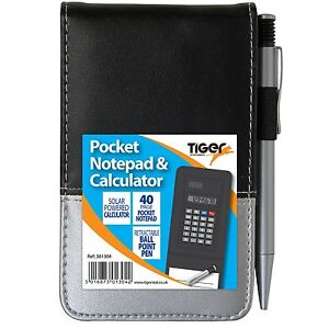 Pocket Notepad and Solar Powered Calculator With Pen Leather Look Adult Gift Fun