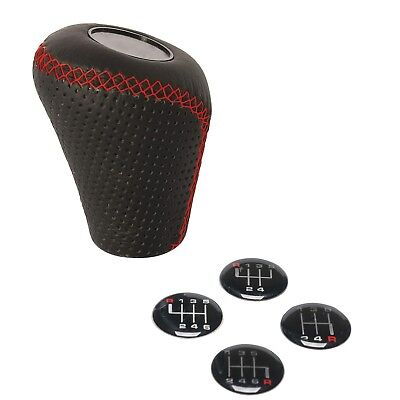 Sumex Race Sport Black & Red Lift Up Reverse Leather Gear Shift Stick Cover Knob