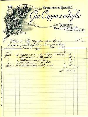 MANIFATTURA DI CALZATURE GIO. CAPPA & FIGLI TORINO LOTTO 4 FATTURE 1906 - 1912