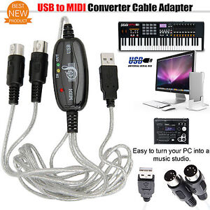 USB to Midi Adapter Converter Piano Music Keyboard Cable Interface For Laptop PC