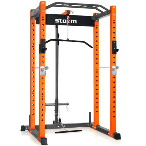 """STOZM 3""""x3"""" Power Rack Supports up to (1100lbs) and Lat Pulldown Machine"""