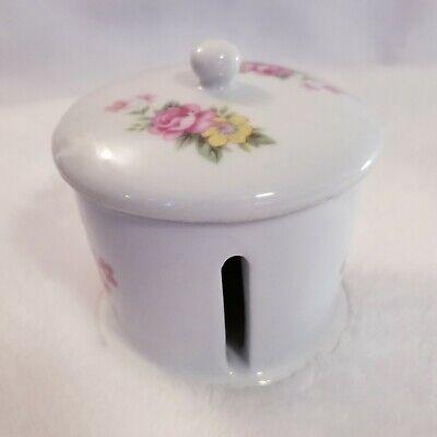 Ceramic Postal Stamp Roll Dispenser by Giftco Vintage Pink & Yellow Floral  Postal Stamp Dispenser