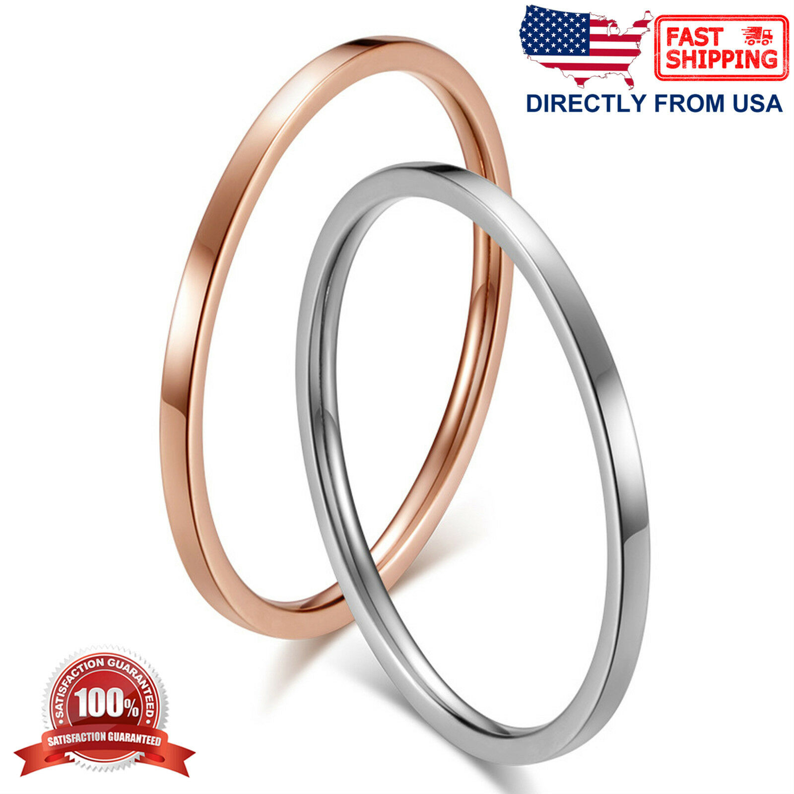 Women's Stainless Steel 1mm Thin Stackable Ring Fashion Jewelry