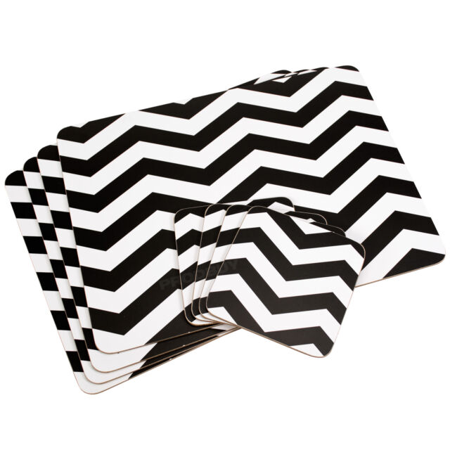 Set of 4 Placemats & Coasters Black & White Chevron Dinner Table Setting Mats