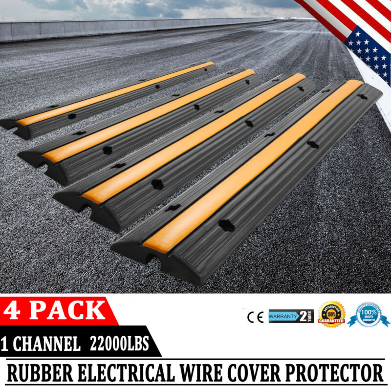 4pcs 1 Channel Cable Protector Ramp 18000lbs Wire Hose Cable Cover Speed Bump