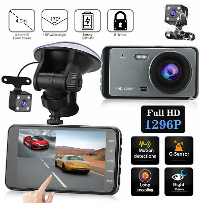 "4"" Dual Dash Cam Front and Rear 1296p HD Car Truck DVR Dashboard Camera Recorder"