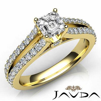 Asscher Diamond Engagement Split Shank Ring GIA G VVS2 18k Yellow Gold 1.15Ct