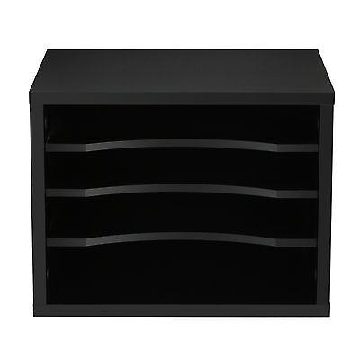 Black Wood Office Paper Storage 4 Shelf File Desk Stand Organizer