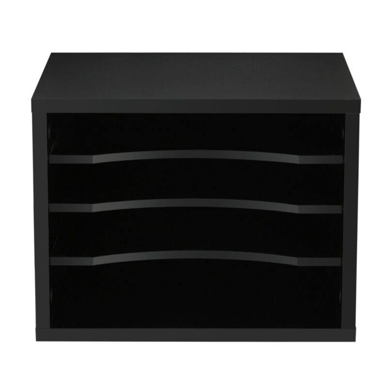 Black Wood Office Paper Storage 4 Shelf File Desk Stand Organizer
