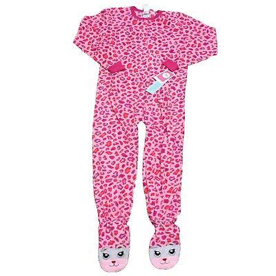 Circo Girls Leopard Print Fleece Footed PJ's Footie Pajamas, Pink L