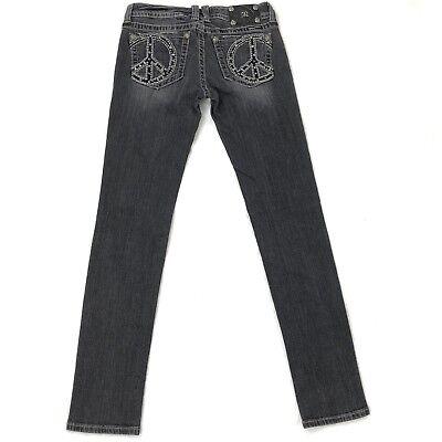 Miss Me Black Skinny Jeans 28 Peace Sign Embellished Pockets Rhinestone JP5091SK