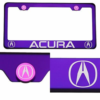 T304 Candy Purple License Plate Frame Stainless Steel Silver Acura Laser Etched