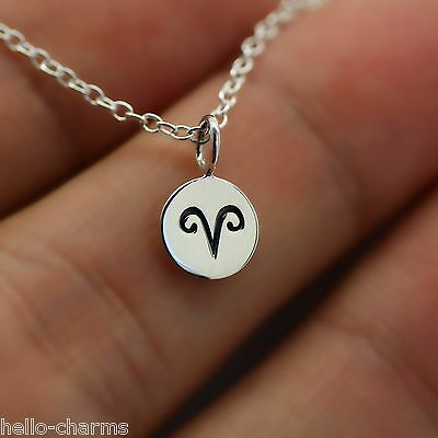 Aries Necklace   925 Sterling Silver   Tiny Horoscope Zodiac Charm Jewelry  New
