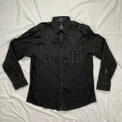 Roar Mens Black Button Front Shirt Size 2XL Strength Refined Stitch Embroidered