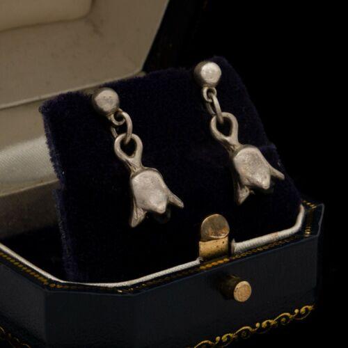 Antique Vintage Deco 925 Sterling Silver Petite Black Onyx Tulip Earrings 2.3g
