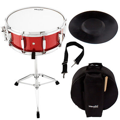 Mendini Student Red Snare Drum Set with Gig Bag+Sticks+Stand+Practice Pad Kit