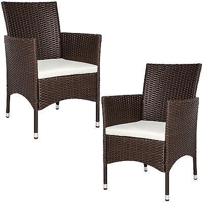 2er Set Polyrattan Stühle Gartenstuhl Sessel Rattanstuhl Stuhl braun B-Ware