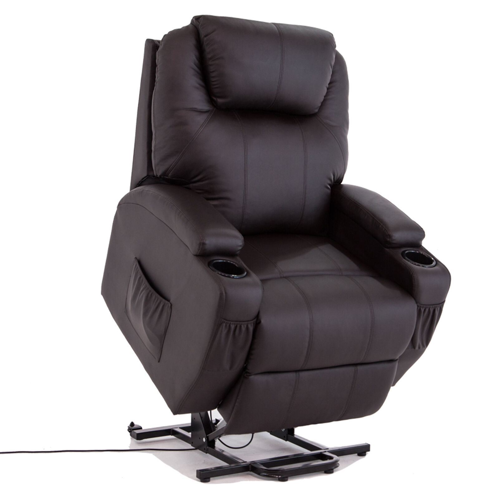 Black Power Lift Recliner Armchair Chair Leather Lounge ...