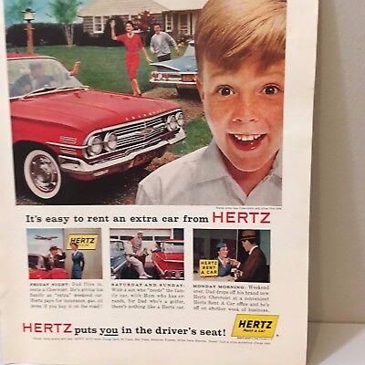 Vintage 1960 Red Chevy Hertz Car Rental Chevrolet Magazine Advertising