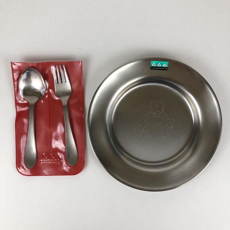 Lundtofte Denmark Stainless Child's Fork Spoon Plate Bears Set New