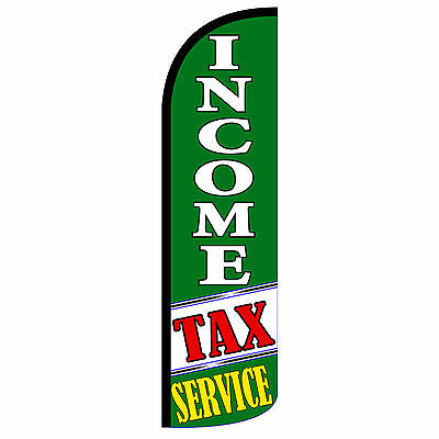 Windless Swooper Feather Flag Tall Banner Sign 3 Wide Income Tax Service Green