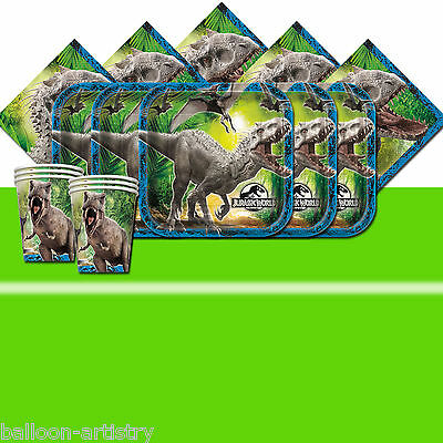 Jurassic World Park Child's Birthday Green Complete Party Tableware Pack For 16
