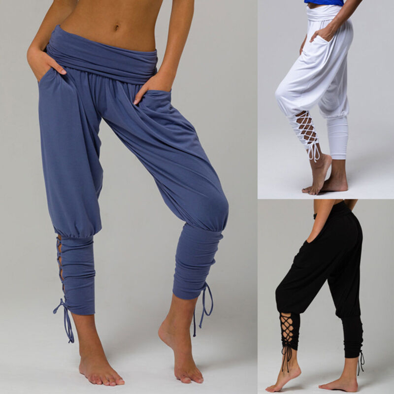 Women Casual Loose Cotton Sweatpants Sports Harem Trousers Y