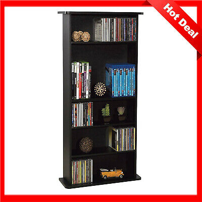 Multimedia Storage Cabinet Shelf Organizer Movie Tower Stand CD DVD Media Rack
