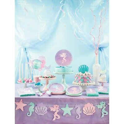 Mermaid Shine coordinated iridescent Birthday party range Tableware and decs