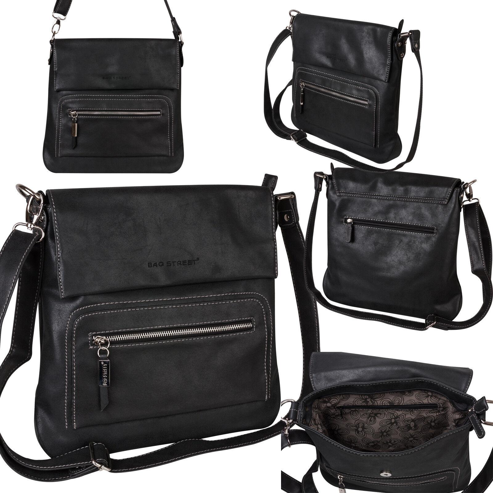 Bag Street Damentasche Umhängetasche Handtasche Schultertasche K2 T0103 Schwarz