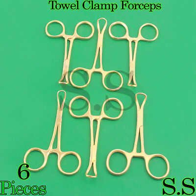 6 Backhaus Towel Clamp 3.5 Full Gold Surgical Instruments