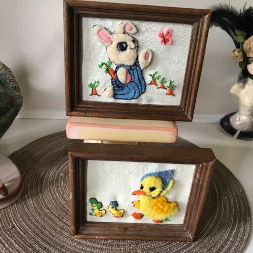 VINTAGE hand stitched Duck & Bunny set  PICTURES FRAMED-EASTER 1950's 3 D