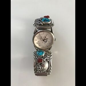 Navajo men's sterling silver watch with turquoise and coral