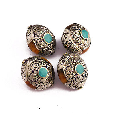 Resin Turquoise Repousse 4 Beads Tibetan Nepalese Handmade Tibet Nepal UB2538