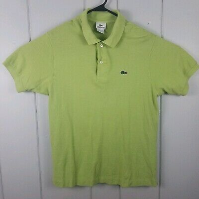 Lacoste Men's Short Sleeve Solid Lime Green Polo Shirt Size 4 Small France
