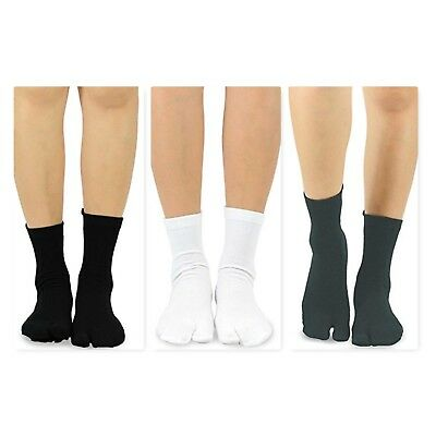 TeeHee Tabi Flip Flop Big Toe Cotton Socks 3-Pairs Pack Black White - Big Sock