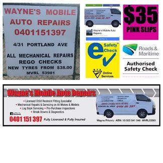 Wayne's mobile auto repairs, rego checks at workshop.