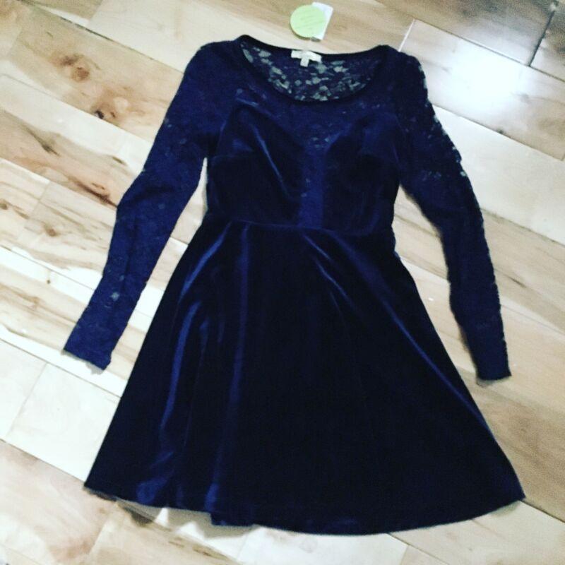 Cecico Navy Blue Velvet & Lace Skater Dress Formal Mini Cocktail Party Size S