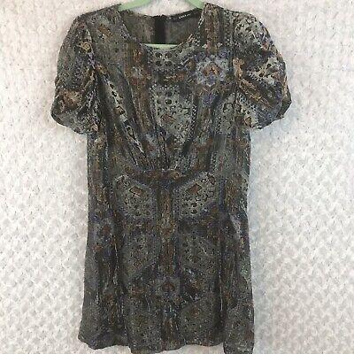 - Zara Knit Silver Gray Metallic Fleck Ethnic Print Puffed Sleeves Dress Small