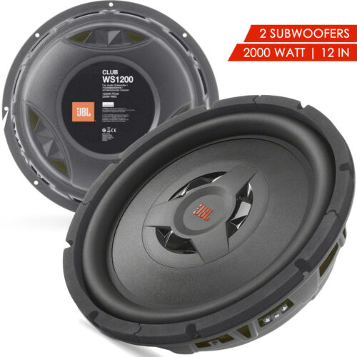 """2x New JBL CLUB WS1200 2000 Watts 12"""" 2 or 4 ohm Shallow Mount Subwoofer -1 Pair"""