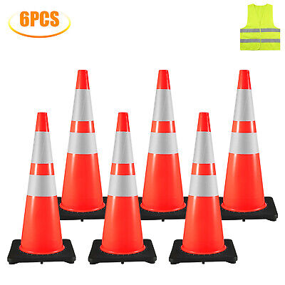 36 Traffic Safety Cones Parking Cones 6pcs 14x14 Reflective Collars Overlap